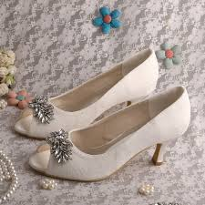 Wedding Shoes Off White Wedopus Off White Peep Toe Women Wedding Pumps Leaves Clip Buckle