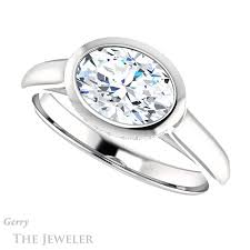 bezel set engagement ring east west oval bezel set engagement ring gtj1242 oval w gerry