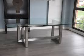 Rectangular Glass Top Dining Room Tables Stainless Steel And Glass Dining Table