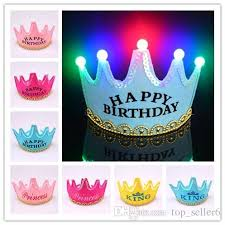 happy birthday hat crown hat led happy birthday hat cap children adults colorful king