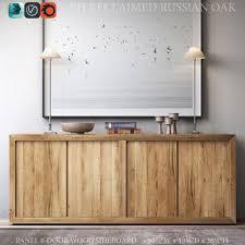 reclaimed russian oak panel 4 door wood sideboard 3d model max obj
