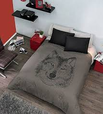 Wolf Bed Sets New Boys Gray Black Wolf Comforter Bedding Sheet Set Reversible