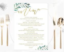 menu template wedding gold calligraphy greenery wedding menu template jpg v 1502322291