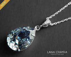 blue sterling silver necklace images Blue grey crystal necklace blue shade sterling silver necklace jpg