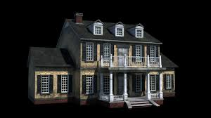 3d model colonial home with pbr materials cgtrader