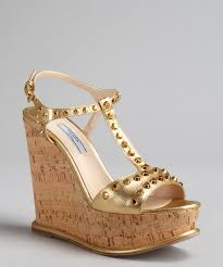 prada metallic gold textured leather studded t strap cork wedge