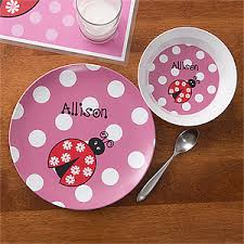 personalized dinnerware personalized plate bowl dinner set ladybug