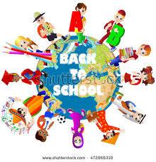 happy school different countries around stock vector