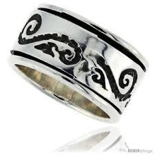 mens spinner rings sterling silver men s spinner ring sun rays design handmade 1 2 in