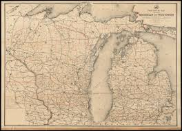 Map Of Indiana And Ohio by Post Route Map Of The States Of Michigan And Wisconsin With
