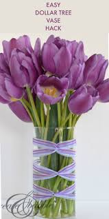 Dollar Store Cylinder Vases Ribbon Wrapped Vase Create And Babble