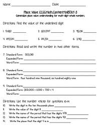 4th grade common core math place value worksheets by christine lynn