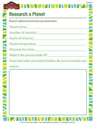research a planet u2013 science printable for 2nd grade