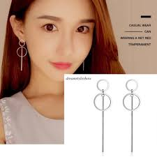 korean 925 sterling silver women circle drop dangle earrings