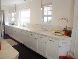 kitchen style white flat cabinets single wall long galley kitchen