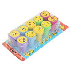 10pcs emoji smile silly face stamps set stationery for kids gift