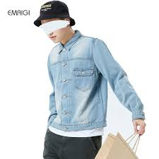 light blue denim jacket mens letter print vintage men light blue wash denim jacket japan style
