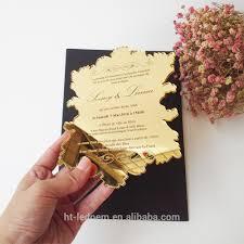 acrylic wedding invitations 100pcs per lot golden mirror acrylic 5 7inch laser cut