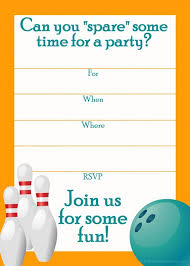 bowling birthday party invitations free templates musicalchairs us
