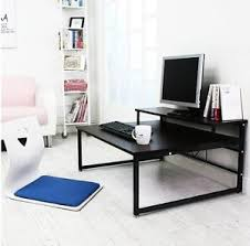 low laptop computer table desk floor seating pc monitor shelf