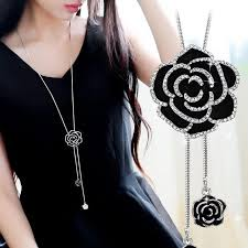 long black pendant necklace images Byspt zircon black rose flower long necklace sweater chain fashion jpg