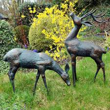 small set of deer garden ornaments