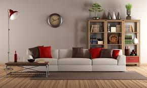 interior decoration modern living room with light brown wall color interior