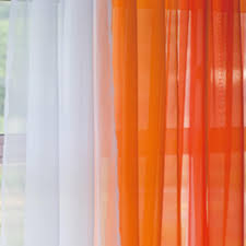 Orange And White Curtains Voile Silk Sheer Curtains