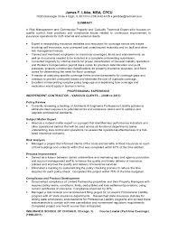 Insurance Underwriter Resume James Libbe Insurance Operations Resume