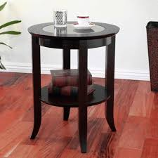 Espresso Accent Table Frenchi Furniture Wood Genoa End Table Round Side Accent Table