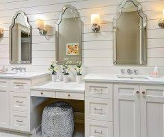 Armoire With Mirrored Front Miami White Mirrored Armoire Bathroom Transitional With Fabric