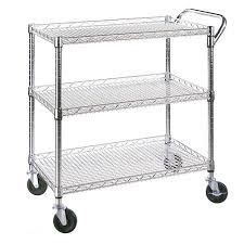 Walmart 2014 Christmas Decorations Commercial by Seville Classics 3 Shelf Commercial Utility Cart She18304bz