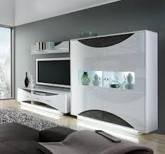 Wohnzimmerschrank In Eiche Forte Möbel Wohnwand Anbauwand Schrankwand Wave In Weiss Hochglanz
