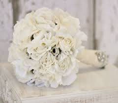 Shabby Chic Wedding Bouquets by Silk Bride Bouquet Cream And White Shabby Chic Vintage Inspired