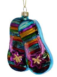 tropical flip flops sandals blown glass