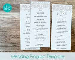 sided wedding program template lace wedding program template sided free color