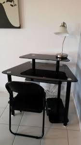 table de bureau en verre bureau verre noir table d angle pour ordinateur eyebuy