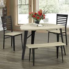 triangle dining table with benches wayfair ca
