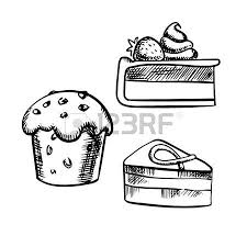 bakery and pastry desserts sketches of chocolate cake cupcake
