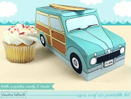 surf car aqua woody surf car cupcake box holds cookies and treats