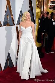 dress jumpsuit 88th oscar gaga carpet dresses 2016 white jumpsuit