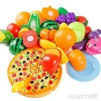 set de cuisine enfant jeux en plastique itechor 68pcs jouet enfant de fruits et légumes
