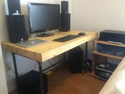 saving small spaces with custom diy butcher block computer desk Desk With Computer Storage