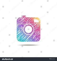 vintage camera painted colors rainbow logo stock vector 329025245