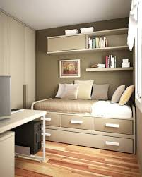 Small Room Storage Ideas Comfortable by Beds Single Beds With Storage For Small Rooms Soft Brown