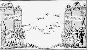 political cartoon of the cold war representing the use of weapons