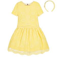 junona girls yellow lace 3 piece top u0026 skirt with hairband set