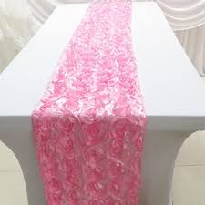 pink rosette table runner 3d pink rosette embroidered table runners for wedding party event
