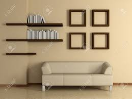 modern home interior with sofa near the beige wall and four