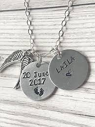 memorial necklace handsted necklace memorial baby loss necklace with name angel